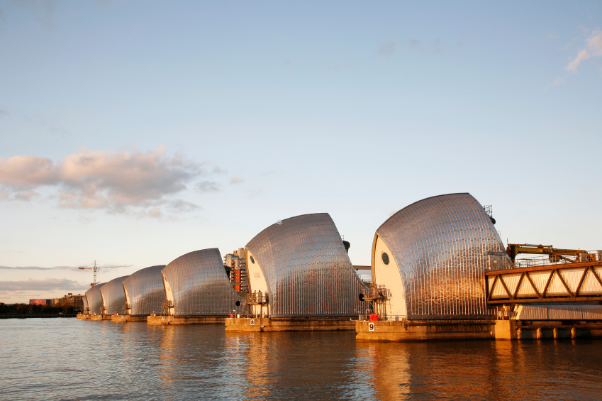 Thames Barrier, tidal protector, is the world's second largest movable flood barrier