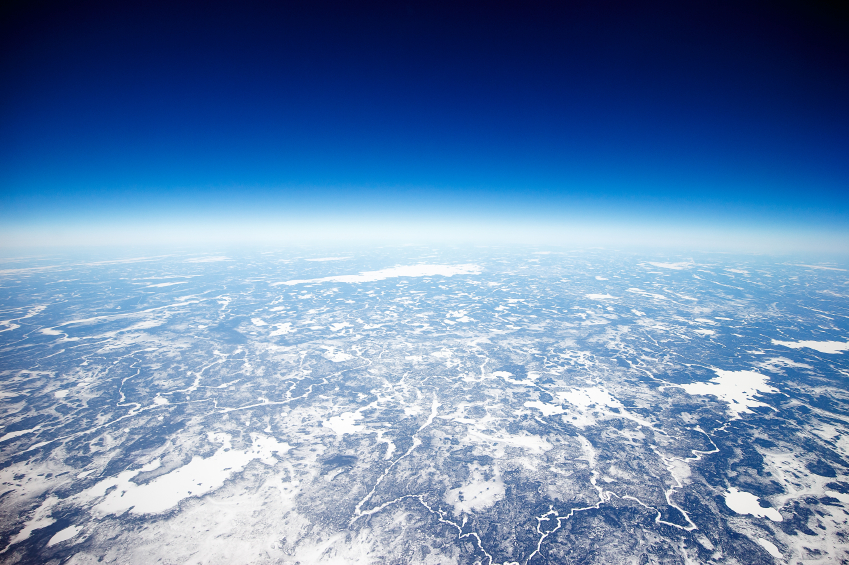 Looking down on the barren northern tundra close to the Arctic Circle.