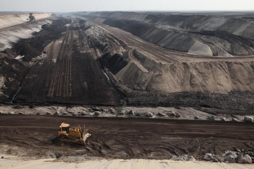 COTTBUS, GERMANY - MARCH 13, 2011: Open-pit coal mining Cottbus Nord near Cottbus, Lower Lusatia, Brandenburg, Germany.