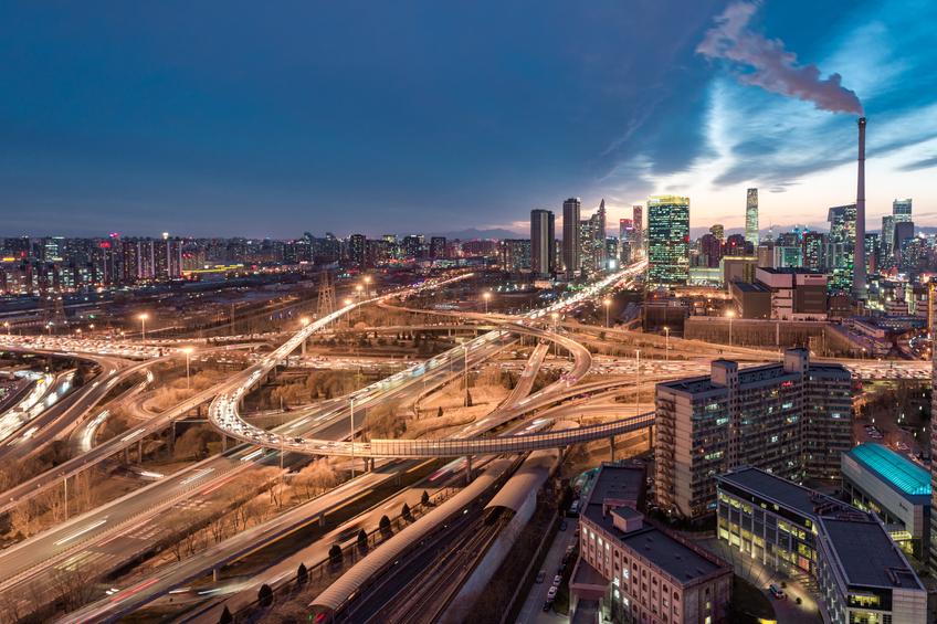 Aerial View of Beijing Highway at Night