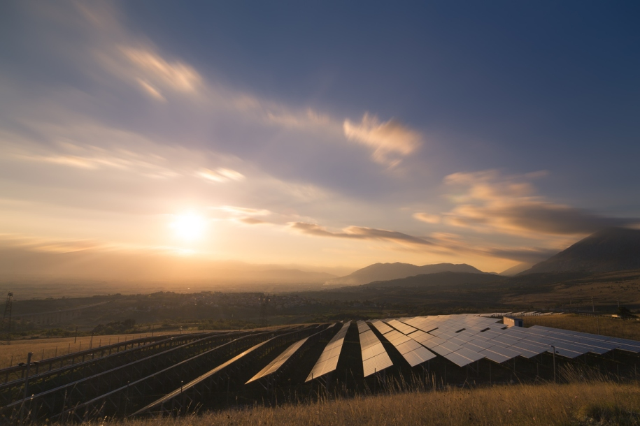 Solar farm at sunrise