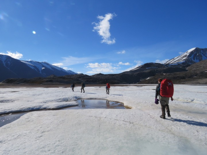 """Our """"commute to work"""". A 7.5km hike across mudflats, wetland, ice and rivers"""