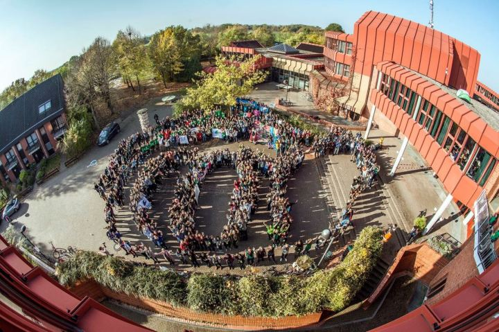 An aerial shot showing young attendees of COY in the shape of the COY letters