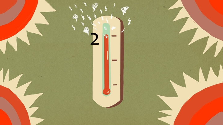 Graphic showing a thermometer rising, with a 2 written at the top to imply a 2 degree temperature rise