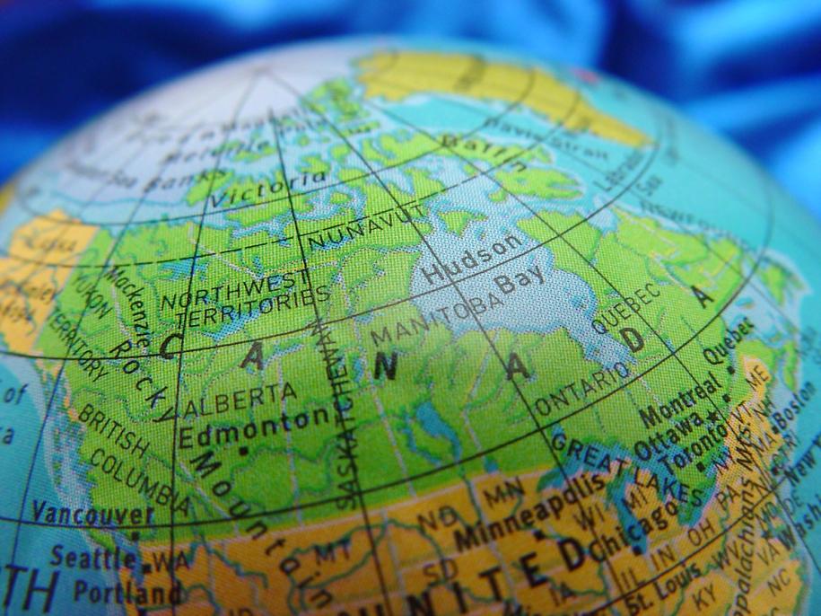 Canada shown on a cheap globe